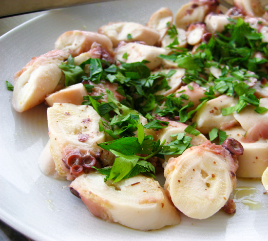 Octopus marinated in mustard and olive oil