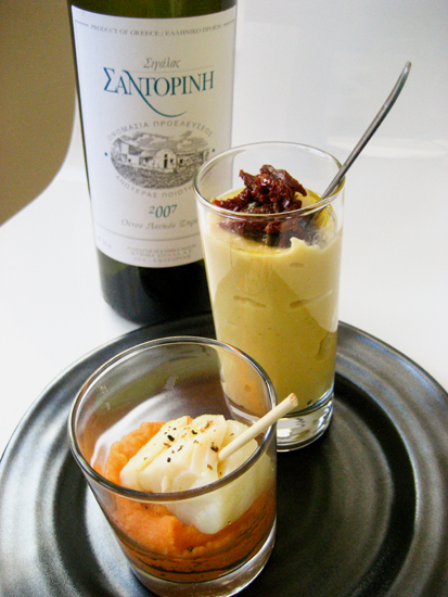 Santorini wine with cod brandade and yellow split pea puree