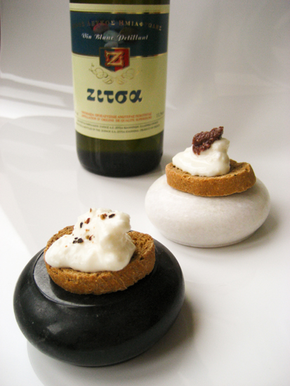 Zitsa petillant wine with fresh goat's cheese crostini