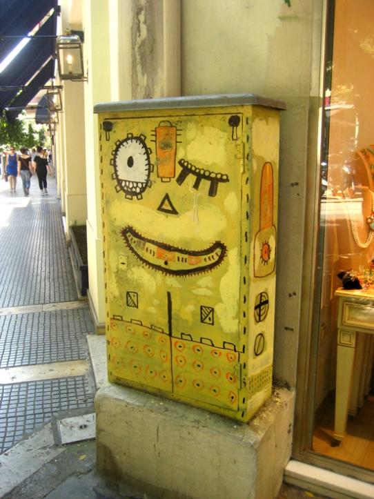 Ένα από τα πολλά ζωγραφισμένα κουτιά της ΔΕΗ που βλέπει κανείς σε όλους τους δρόμους
